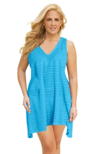 Jordan Taylor Scuba Blue Plus Size V-Neck Handkerchief Dress Size