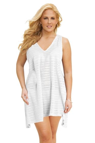Jordan Taylor Plus Size Belize White V-Neck Handkerchief Dress