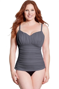 Miraclesuit Slate Colorblock Plus Size Rialto One Piece Swimsuit
