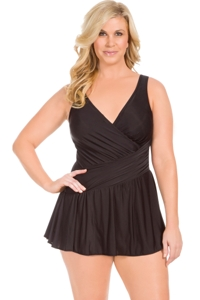 Miraclesuit Plus Size Black Aurora Surplice Swimdress