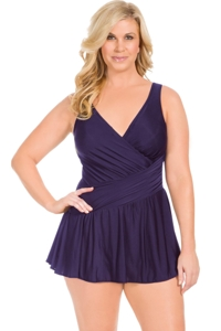Miraclesuit Plus Size Plum Aurora Surplice Swimdress