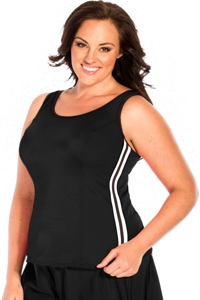 Miraclesuit Black Plus Size Kimkini Underwire Tankini Top