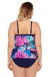 Christina Swimwear Tropical Floral Castaway Cay Plus Size Cross Over Flaired Tankini Top