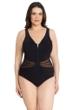 Profile by Gottex Grand Prix Black Plus Size V-Neck Mesh Inset One Piece Swimsuit