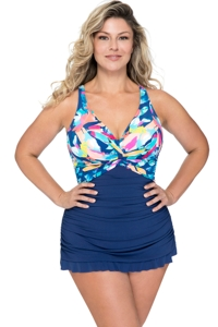 Profile by Gottex Bermuda Breeze Plus Size V-Neck Underwire Swimdress