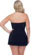 Profile by Gottex Moto Black Plus Size Cross Over Bandeau Strapless Swimdress