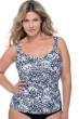 Profile by Gottex Tribal Batik Black and White Plus Size Shirred Underwire Tankini Top