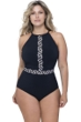 Profile by Gottex Labyrinth Black and White Plus Size High Neck One Piece Swimsuit