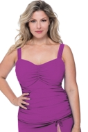 Profile by Gottex Tutti Frutti Plum Plus Size Shirred Underwire Tankini Top