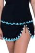 Profile by Gottex Tutti Frutti Black and Aqua Plus Size Side Slit Swim Skirt