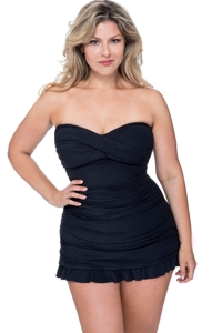 Profile by Gottex Ribbons Black Plus Size Cross Over Bandeau Strapless Swimdress