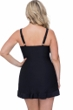 Profile by Gottex Ribbons Black Plus Size V-Neck Swimdress