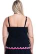 Profile by Gottex Tutti Frutti Black and Pink Plus Size Shirred Underwire Tankini Top