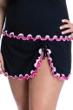 Profile by Gottex Tutti Frutti Black and Pink Plus Size Side Slit Cinch Swim Skirt