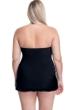 Profile by Gottex Tutti Frutti Black Plus Size Cross Over Bandeau Strapless Swimdress