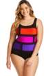Longitude Plus Size Color Block Purple Stained Glass One Piece Swimsuit