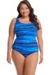 Robby Len by Longitude Oasis Plus Size Lattice Back One Piece Swimsuit