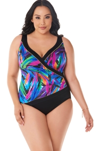 Robby Len by Longitude Wipe Out Plus Size Piped Side Tie Surplice One Piece Swimsuit