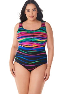 Robby Len by Longitude Heatwave Plus Size X-Back One Piece Swimsuit