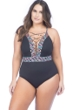 La Blanca La Azteca Plus Size High Neck Lace Up One Piece Swimsuit
