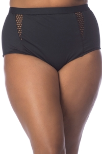 La Blanca Black All Meshed Up Plus Size Hi-Rise Swim Bottom