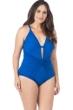 La Blanca Apollo Blue Island Goddess Plus Size Twist Front Lingerie One Piece Swimsuit