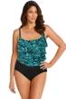 Longitude Turquoise Tribal Quest Plus Size Tier Triple One Piece Swimsuit