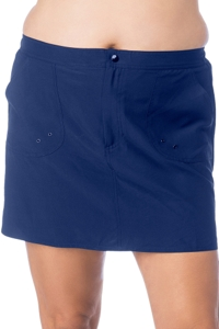 Maxine of Hollywood Plus Size Solid Navy Woven Board Skirt