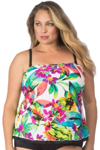 Maxine of Hollywood Plus Size Summer Bounty Ruffled Tankini Top