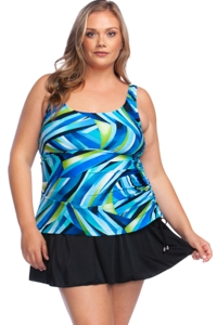 Maxine of Hollywood Galaxy Plus Size Side Tie Swimdress