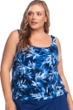 Maxine of Hollywood In the Navy Plus Size Banded Scoop Blouson Tankini Top