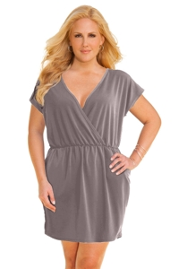 Jordan Taylor Taupe Plus Size V-Neck Surplice Dress