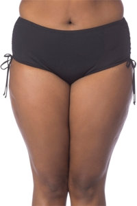 Kenneth Cole Solid Black Plus Size Adjustable High Waist Tankini Bottom