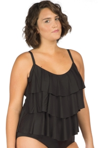 Kenneth Cole Solid Black Plus Size Ruffle Tiered Tankini Top