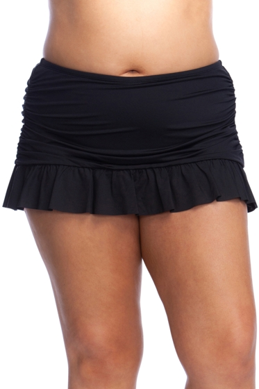Kenneth Cole Reaction Ruffle-Licious Black Plus Size Rouched Ruffle Swim Skirt