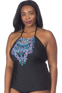 Kenneth Cole Dream Weaver Plus Size High Neck Tankini Top