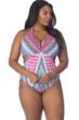 Kenneth Cole Riviera Stripe Plus Size Underwire Halter Peek-A-Boo One Piece Swimsuit