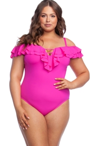 Kenneth Cole Reaction Ruffle-Licious Passionfruit Plus Size Off the Shoulder Ruffle One Piece Swimsuit