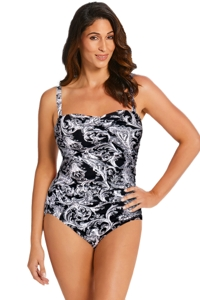 Longitude Black Royal Scroll Plus Size Shirred Lingerie One Piece Swimsuit