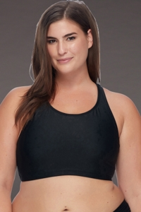 SKYE Plus Size Solid Black Adley High Neck Bikini Top