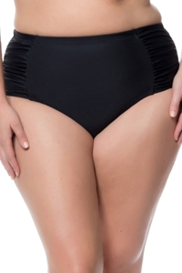 Jessica Simpson Plus Size Solid Black Side Shirred High Waisted Bikini Bottom