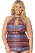 Jessica Simpson Plus Size Cherokee Queen High Neck Keyhole Tankini Top