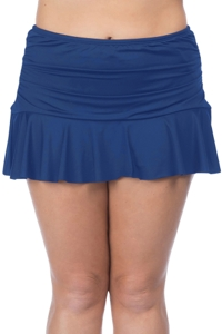24th & Ocean Plus Size Solid Navy Ruffled Hem Swim Skirt