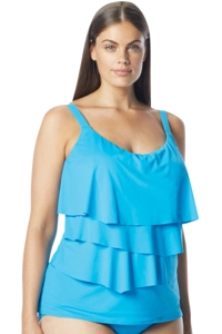 Coco Reef Plus Size Solid Blue DD-Cup Aura Ruffle Underwire Tankini Top