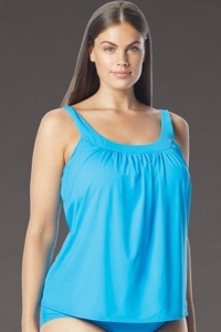Coco Reef Plus Size Solid Blue DD-Cup Ultra Fit Underwire Tankini Top