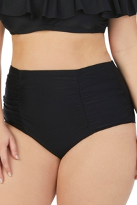 Raisins Curve Plus Size Solid Black High Waist Bikini Bottom