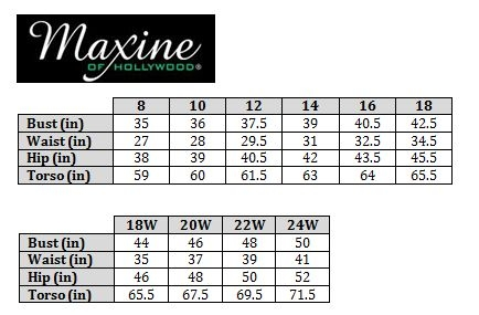 Maxine Of Hollywood Size Chart