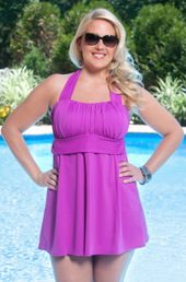 plus size swimsuit always for me in control salem 2 pc swimdress w high waist orchid